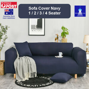 Sofa Cover 1 2 3 4 Seater Navy Stretch Couch Covers  Lounge Slipcover