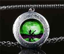 Tinkerbell With Moon Cabochon Glass Tibet Silver Locket Pendant Necklace