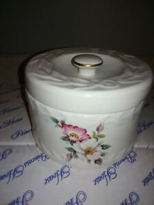 Vintage Websters Butter Crock With Embossed Designs & pink Dogwood GREAT COND.
