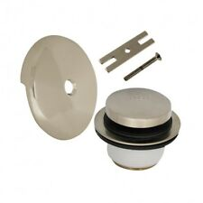 Touch-Toe Tub Drain Trim Kit with Overflow in Brushed Nickel
