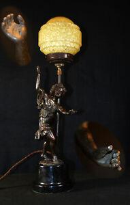 Vintage 1920s original heavy bronze sculpture after CLODION art deco table lamp