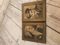 Vintage Military Couple Photo Bi-Fold Album WWII