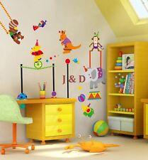 Animali da circo (Bear / ELEFANTE / Monkey) Vivaio / BABY / Kid's Muro Adesivo Decalcomania