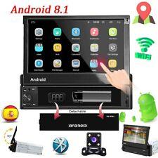 7'' Autoradio Android 8.1 GPS Navi Wifi Bluetooth USB Coche MP5 1 Din + Cámara