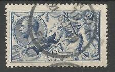 SG413 THE 1915 DE LA RUE 10/- SEAHORSES 10/- PALE BLUE FINE USED CAT £875