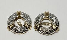 14k Two Tone Yellow White Gold Diamond Round Earring Sleeves / Jackets