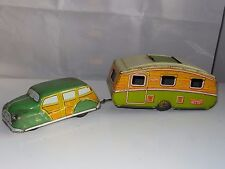 Mettoy Tinplate Lithographed CAR AND CARAVAN with sunroof - old