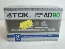TDK AD90 BLANK SEALED CASSETTE TAPE 3 PACK