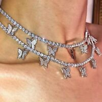 1pc Charm Butterfly Necklace Pendant Clavicle Choker Crystal Chain Women Jewelry