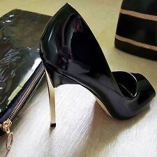 Escarpins vinyle vernis ouvert talons aiguille : noir