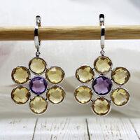 Natural Citrine Amethyst Flower Long Earrings 925 Sterling Silver Drop Dangle