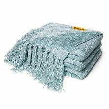 Soft Knitted Chenille Throw Blanket Fringe Cover Bed Couch Sofa 60 x 50 in Aqua