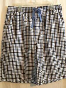 Cremieux Men Sleep Lounge Pajama Shorts Sz XLT Blue White Black Checks NWT
