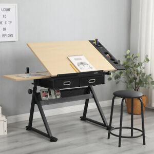 Adjustable Drafting Table Architect Art Craft Drawing Desk w/ 2 Drawers+Stool UK
