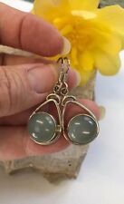 Chalcedony 925 Silver Earrings Vintage Style Natural India Summer Pagan Reiki