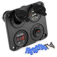 UK 12V Car Cigarette Lighter Socket + Dual USB Port Charger + Voltmeter Panel