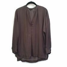 Sen Women's Brown/Gray Hi Low Hem Long Sleeve Shirt Top Size Small Career