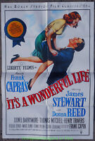 IT'S A WONDERFUL LIFE MOVIE POSTER Original Folded R1986 One Sheet JAMES STEWART