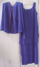 NEW! PATRA 16W 2-PC PERIWINKLE BLUE COCKTAIL DRESS SHEER JACKET made USA $169.99