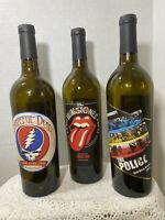 Rolling Stones The Police Grateful Dead Excellent Collection Wine bottles 3 Set