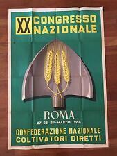 MANIFESTO,POSTER 1968 COLTIVATORI DIRETTI XX CONGRESSO NAZIONALE,ROMA GRANO