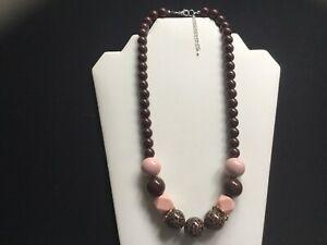 Women's Chunky Animal Print, Nude And Chocolate Brown Bead Necklace - Handmade