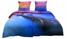 Bettwäsche 135x200 4tlg Mako Satin Lila Orange Sonnenuntergang Schlafzimmer Set