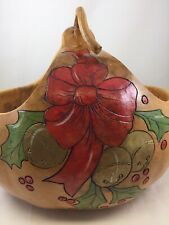 Carved & Painted Christmas Basket Gourd - Signed Hns '91 - Bows Bells & Holly