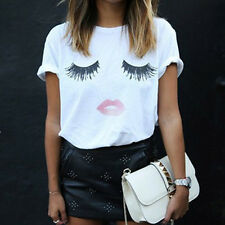 Fashion Summer Women T-Shirt Loose Lashes Lip Print Shirts Short Sleeve Tops New