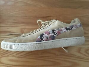 Puma beige suede trainers with embroidered flash Size 7.5