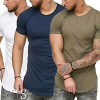 US STOCK Men's Casual Fit Short Sleeve Slim Muscle Bodybuilding T-shirt Tee Tops