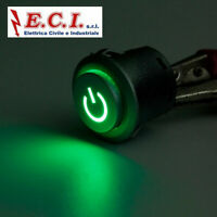 INTERRUTTORE A PULSANTE LUMINOSO VERDE ON-OFF DIAM.22mm 12V 10A