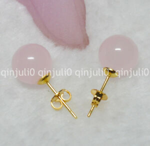Pretty 10mm Jewelry Natural Light Pink Jade Ball Gold Stud Earrings