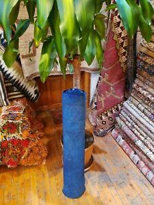 """Decoratove Antique 1940-1950s Wool Pile Overdyed Dark Blue Oushak Rug 2'8""""×12'5"""