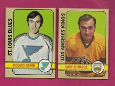 1972-73 TOPPS BLUES CARON ROOKIE + KINGS EDWARS GOALIE  NRMT-MT (INV# A5470)