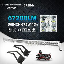 "WHITE 50INCH 672W CURVED LED LIGHT BAR+MOUNT BRACKET FIT F250 F350 F450 52""/54"""
