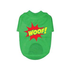 Green Dog T-Shirt - Woof Dog / Puppy Tee, 100% Cotton, Unisex, RichPaw, XXS-XXL