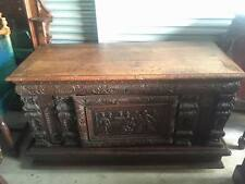 Antique Heavily Carved European Chest 16th - 17th Century