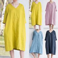 Women Plain V Neck Baggy Half Sleeve Loose Beach Summer Long Dress Plus Size 5XL