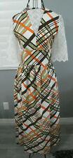 70's Vintage White Brown Orange Green Plaid Lace Hippy Mod Maxi Dress Sundress S