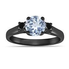1.16 Carat Aquamarine Three Stone Engagement Ring 14K Black Gold Vintage Style