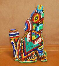 Colorful Huichol Beaded Art Coyote Santos Villa