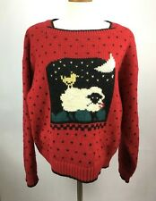 Vintage Woolrich Sweater Sheep Lamb Theme Hearts Red Size Large 100% Wool