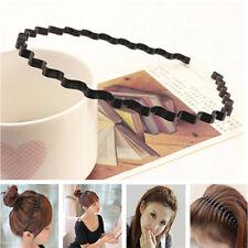 Classic Black Cool Unisex  Wavy Hair Head Hoop Band Sport Headband Hairband FT71