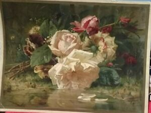 Robie Jean Baptiste Hand Lithograph Roses/Pansies 7.1 by 9.5 Inches late 1860's?