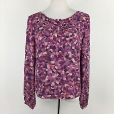 CAbi womens medium purple kaleidoscope print career blouse shirt top style #571