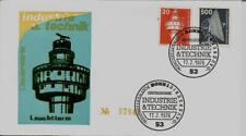BRD FDC MiNr 848 + 859 (1P) Industrie und Technik (I): Leuchtturm Radioteleskop-