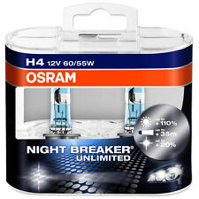 OSRAM Unlimited Night Breaker H4 9003 Bulbs 60W/55W Brand New Pair