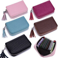 Womens RFID Blocking Genuine Leather Secure Credit Card Holder Zip Around Wallet