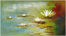 Water Lilies - Hand Painted Modern Impressionist Flower Oil Painting On Canvas